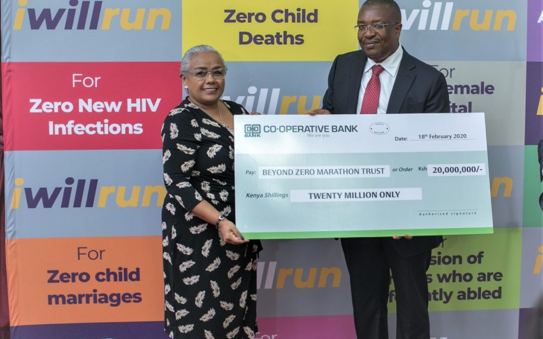 Coop Bank gives Ksh20M to First Lady's Beyond Zero initiative.